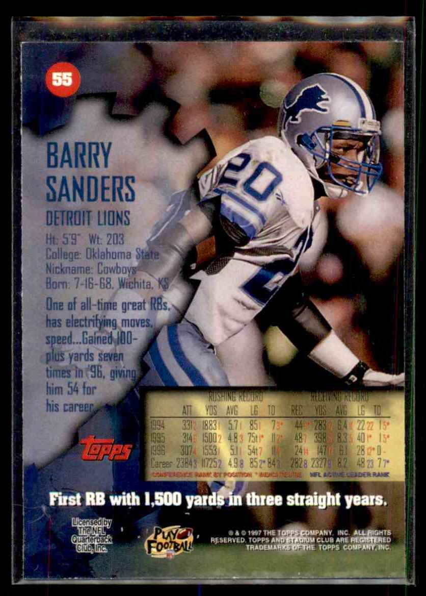 1997 Stadium Club First Day Barry Sanders #55 card back image