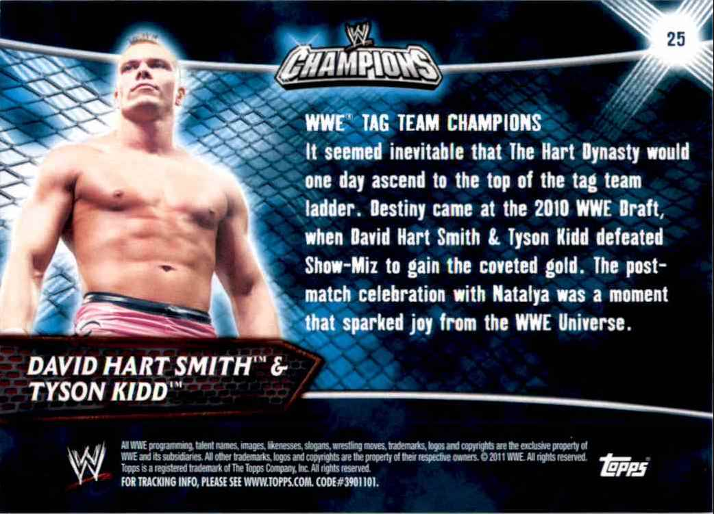 2011 Topps Wwe Champions David Hart Smith,Tyson Kidd #25 card back image