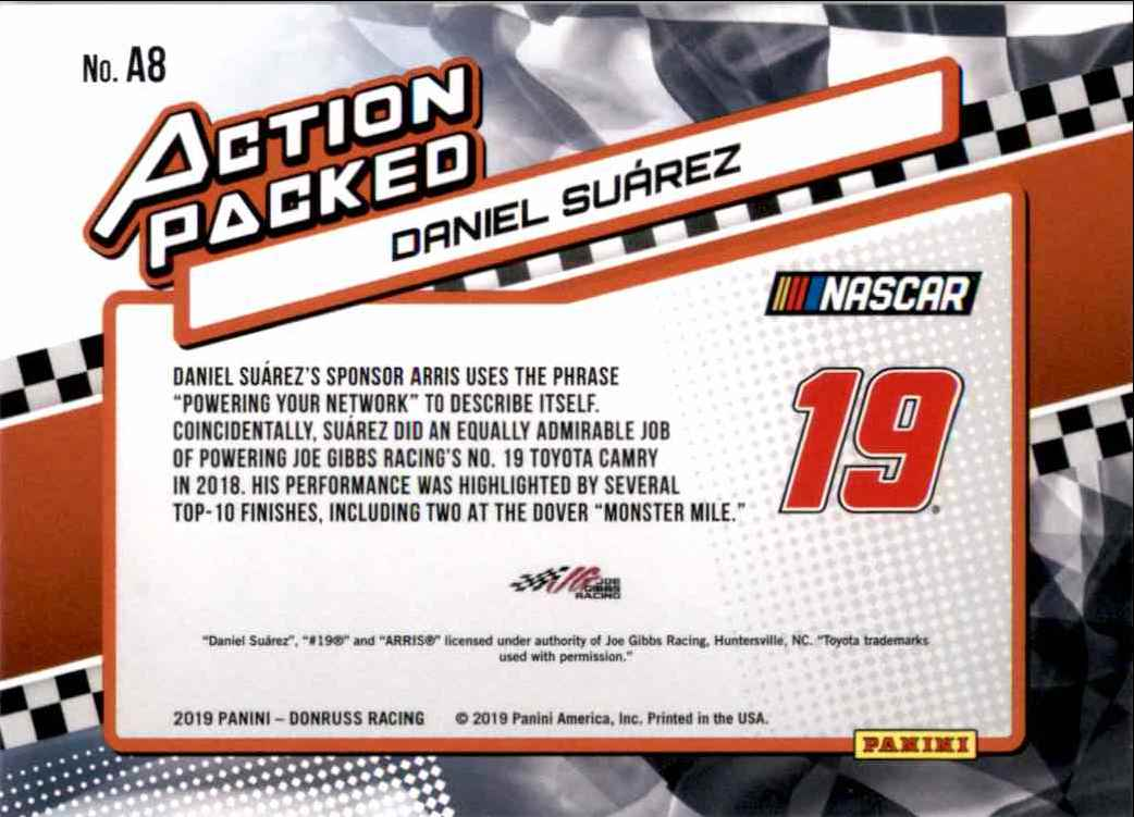 2019 Donruss Action Daniel Suarez #A8 card back image