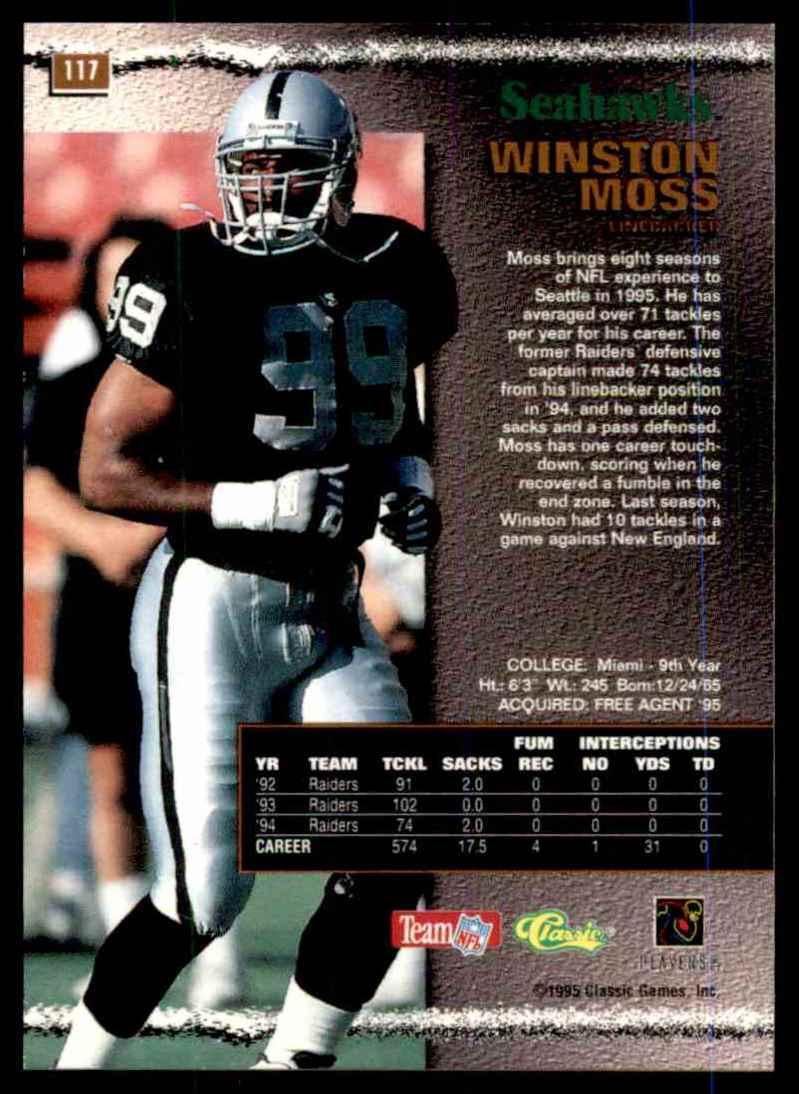 1995 Pro Line Silver Winston Moss #117 card back image