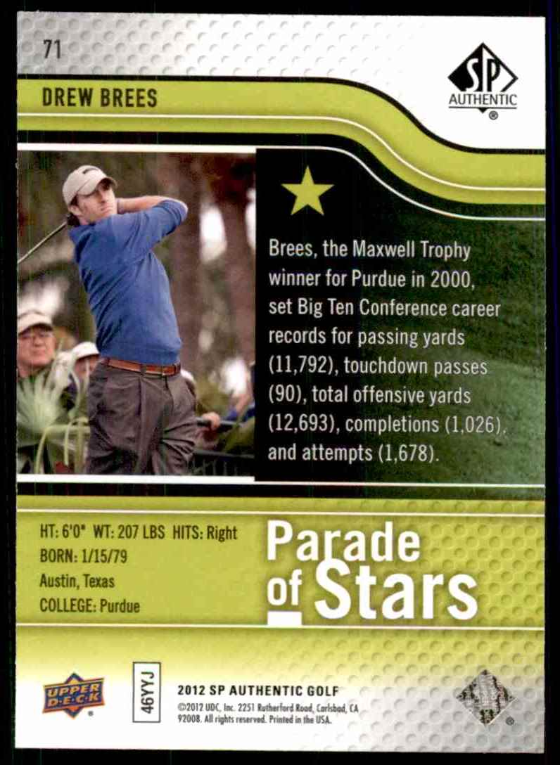 2012 SP Authentic Drew Brees Ps #71 card back image