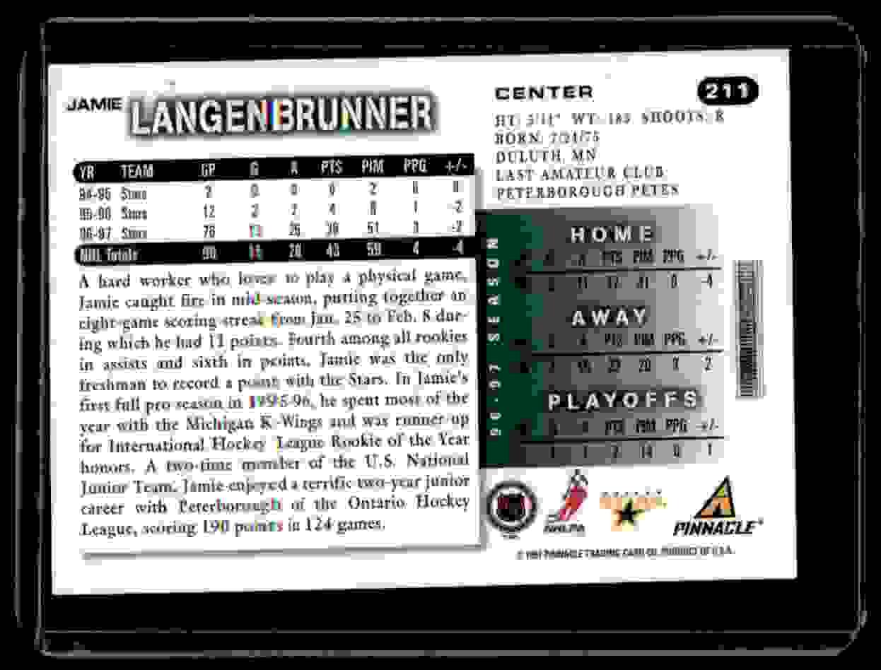 1997-98 Score Autographs Jamie Langenbrunner #211 card back image