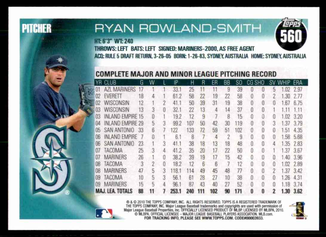 2010 Topps Ryan Rowland-Smith #560 card back image