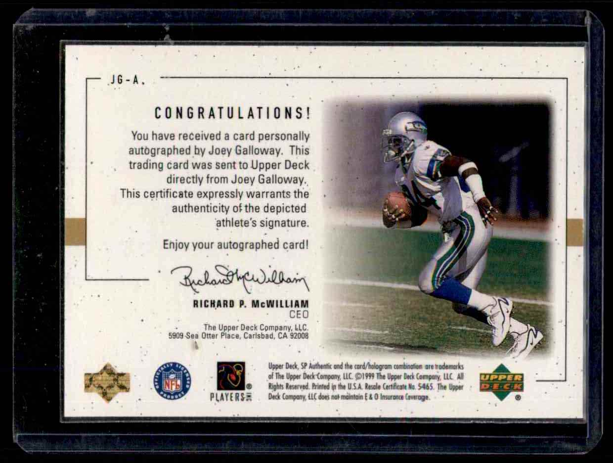 1999 SP Authentic Player's Ink Green Joey Galloway #JGA card back image