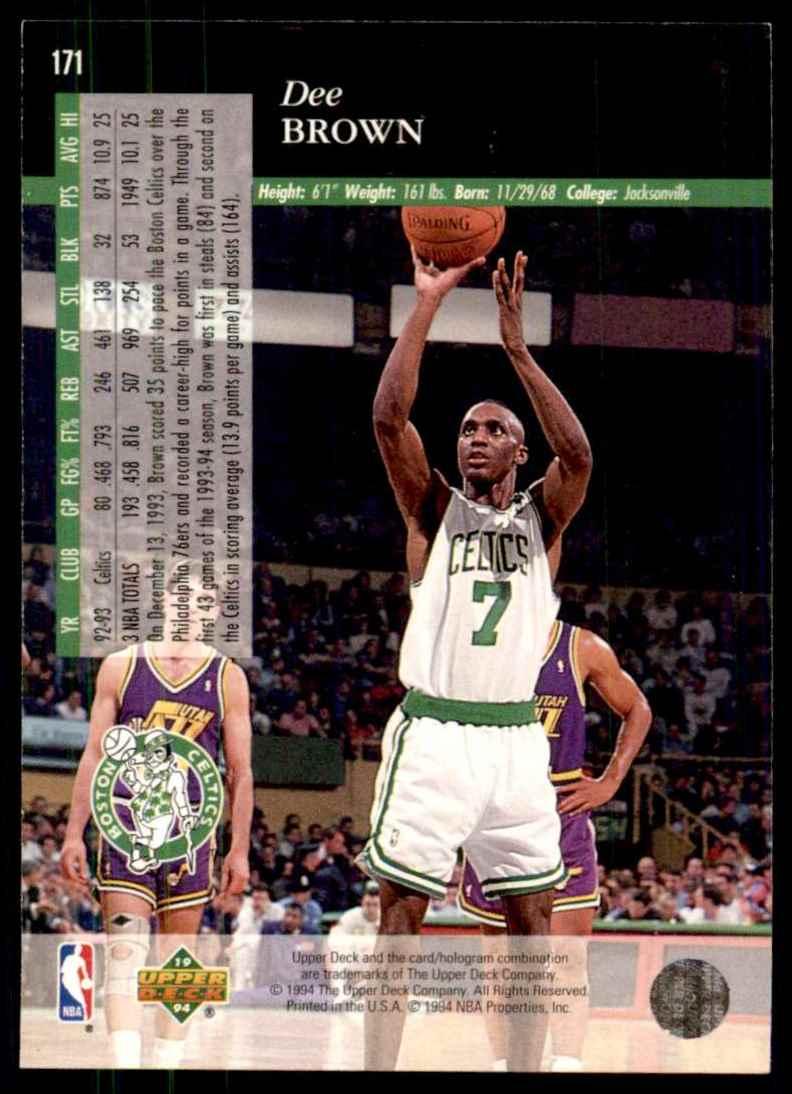 1993-94 Upper Deck Se Dee Brown #171 card back image
