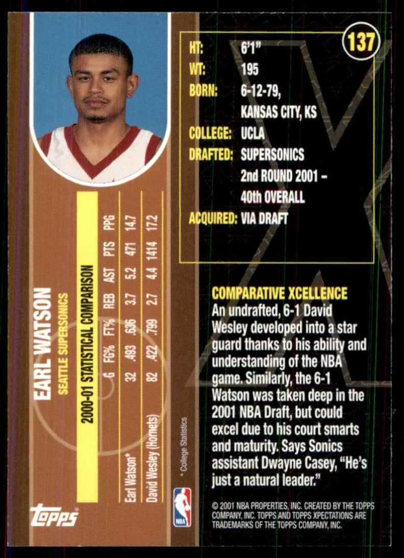 2001-02 Topps Xpectations Earl Watson RC #137 card back image