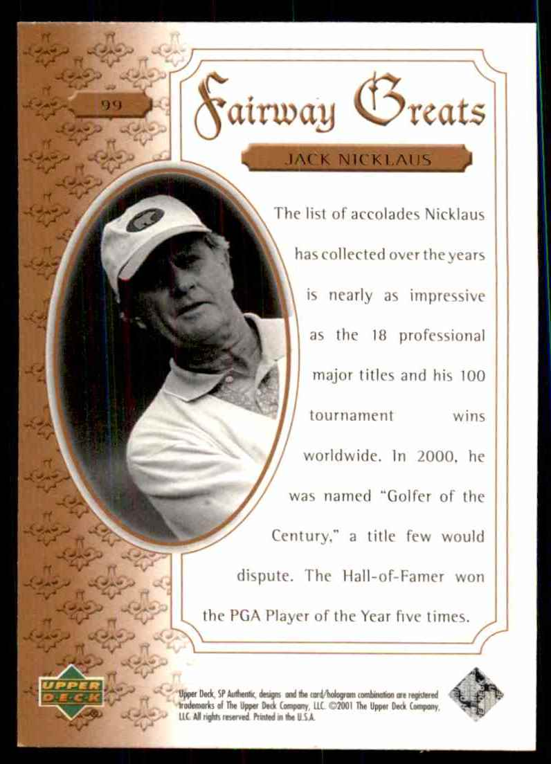 2001 SP Authentic Jack Nicklaus Fg #99 card back image