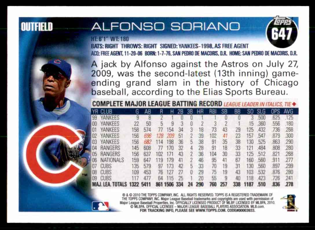 2010 Topps Alfonso Soriano #647 card back image