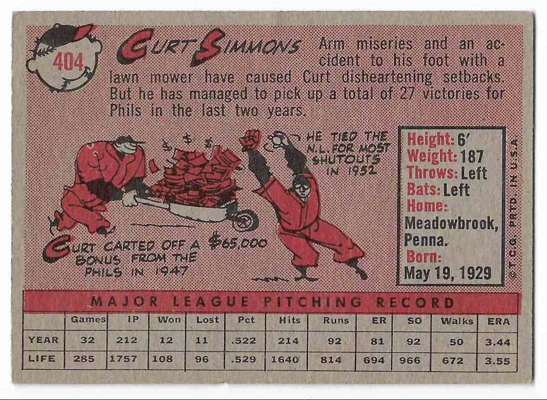 1958 Topps Curt Simmons #404 card back image