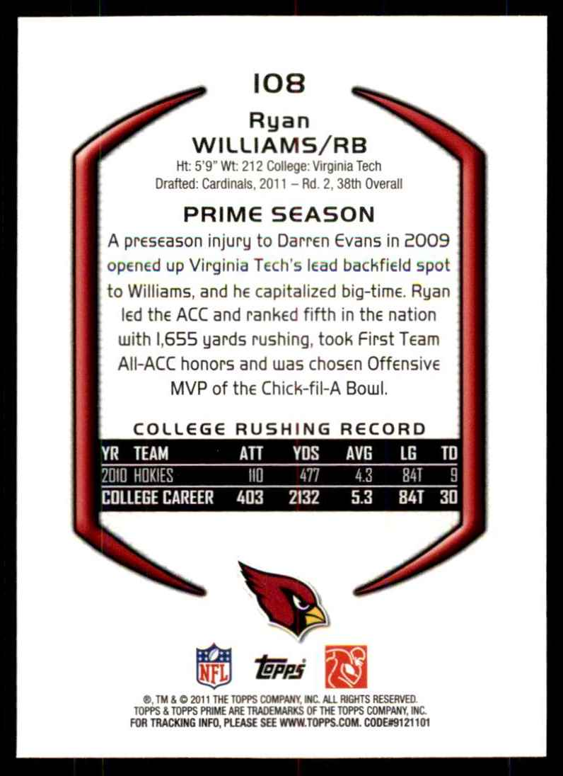 2011 Topps Prime Gold Ryan Williams #108 card back image