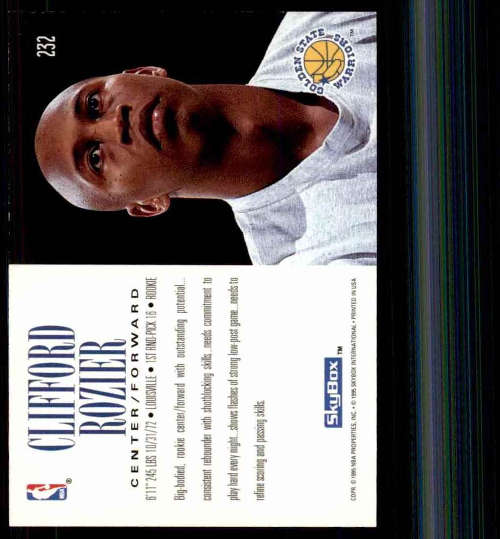 1994-95 Skybox Premium Clifford Rozier RC #232 card back image