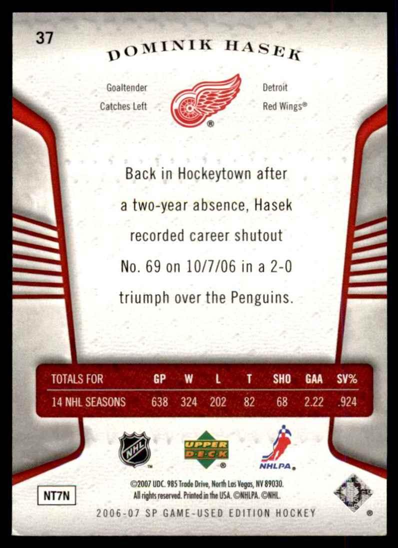 2006-07 SP Game Used Dominik Hasek #37 card back image