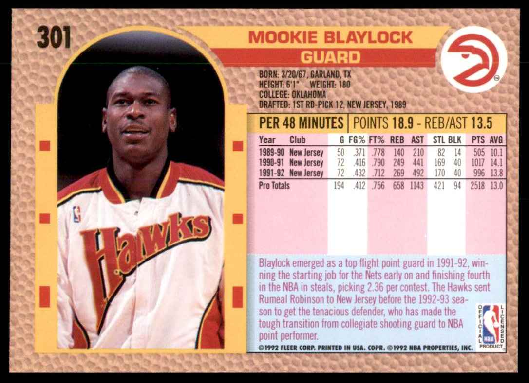 1992-93 Fleer Mookie Blaylock #301 card back image