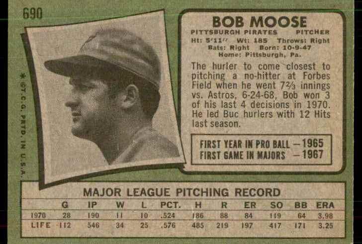 1971 Topps Hi# Nm-Mt+ Bob Moose #690 card back image