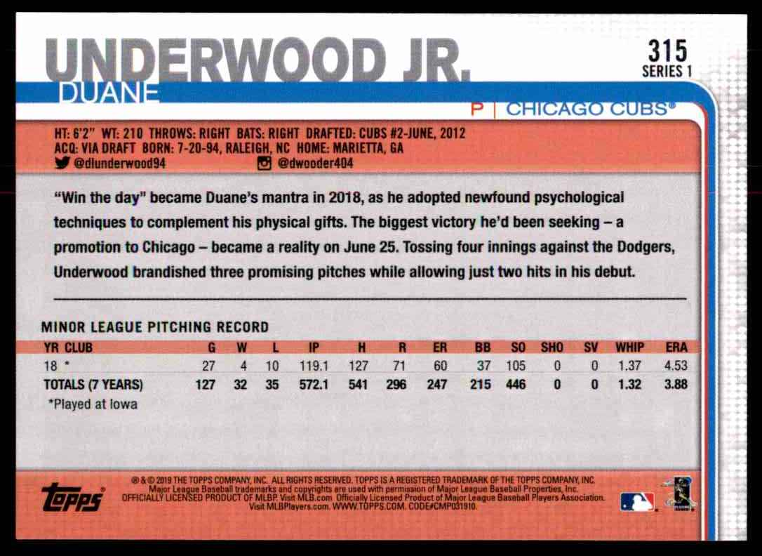 2019 Topps Duane Underwood JR. #315 card back image