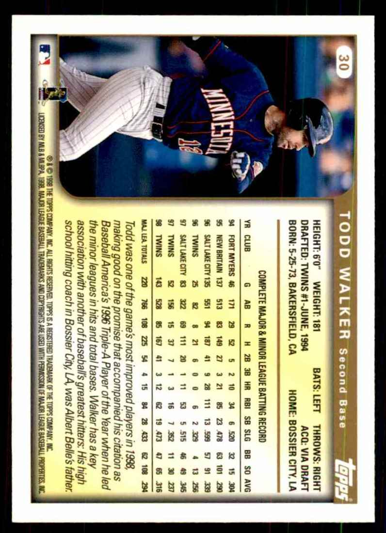 1999 Topps Todd Walker #30 card back image