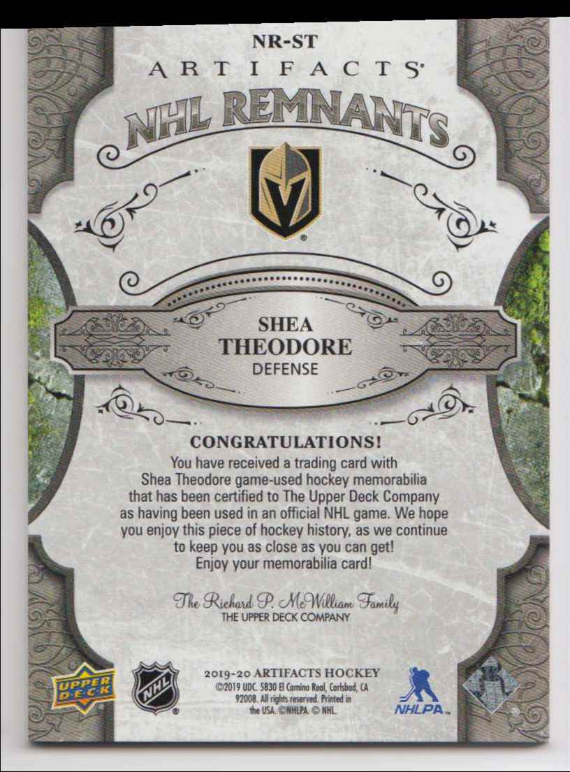 2019-20 Artifacts NHL Remnants Shea Theodore #NR-ST card back image