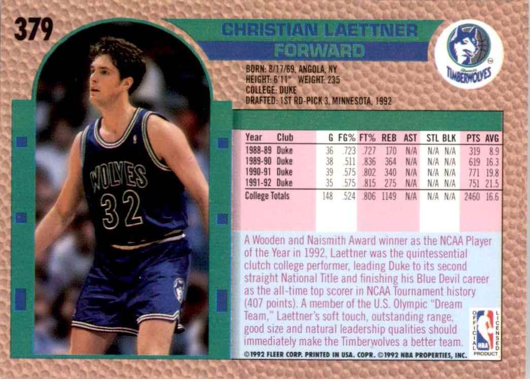 1992-93 Fleer Christian Laettner #379 card back image