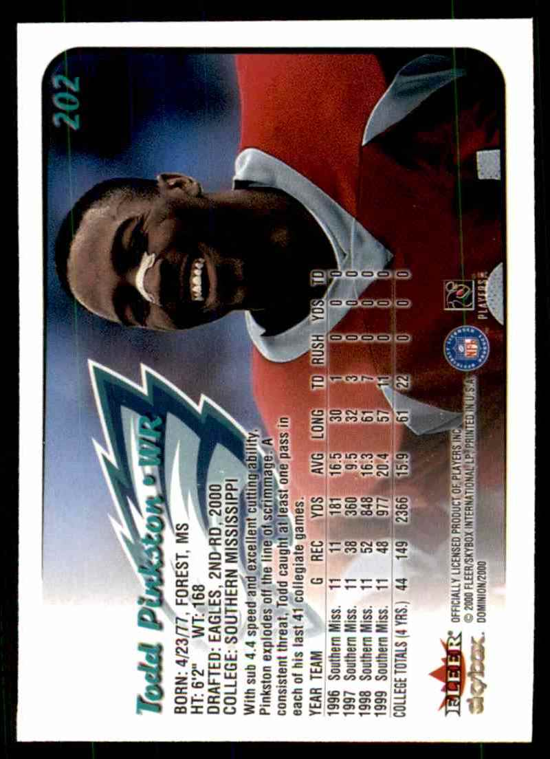 2000 Dominion Todd Pinkston #202 card back image