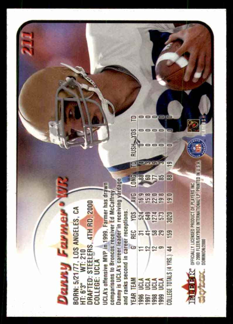 2000 Dominion Danny Farmer #211 card back image