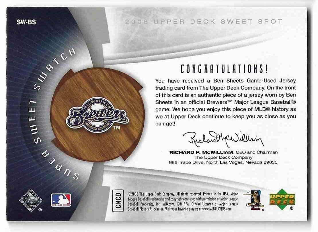 2006 Upper Deck Sweet Spot Ben Sheets #SW-BS card back image