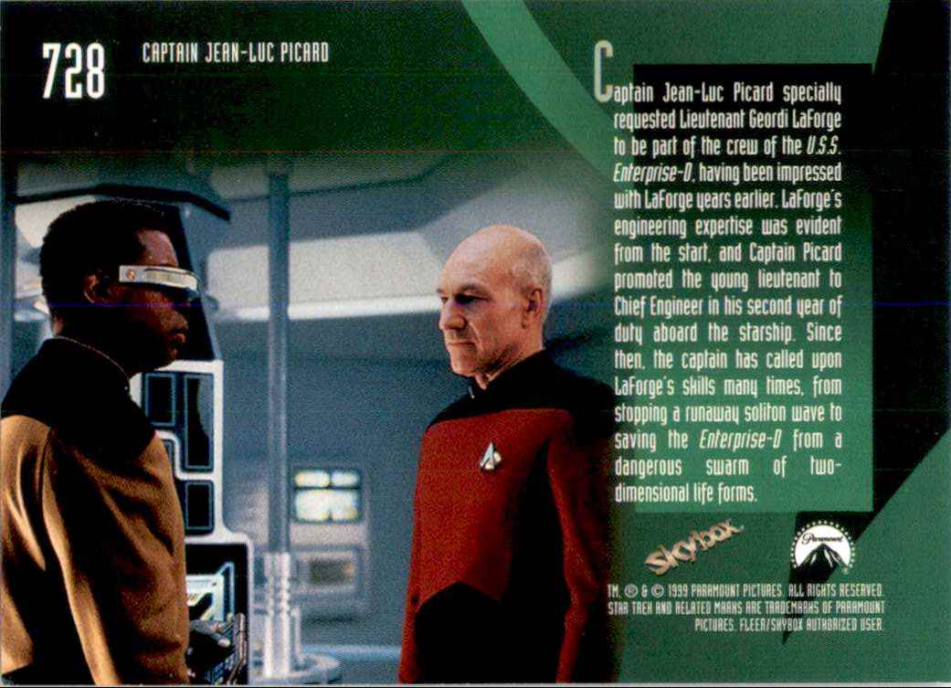 1994 Star Trek The Next Generation Episode Collection Lieutenant Geordi LaForge #728 card back image