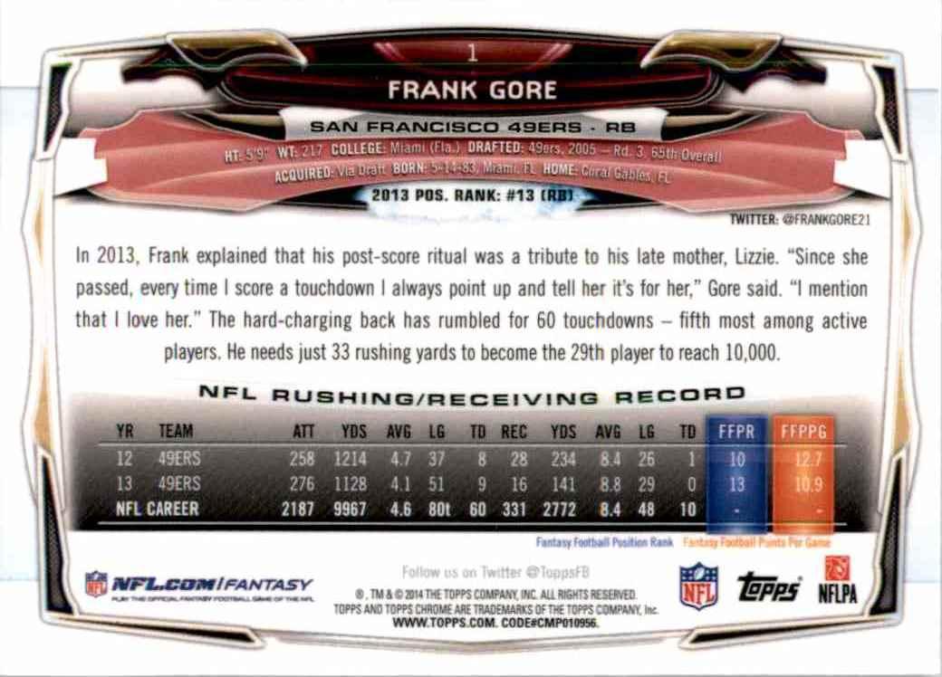 2014 Topps Chrome Frank Gore #1 card back image