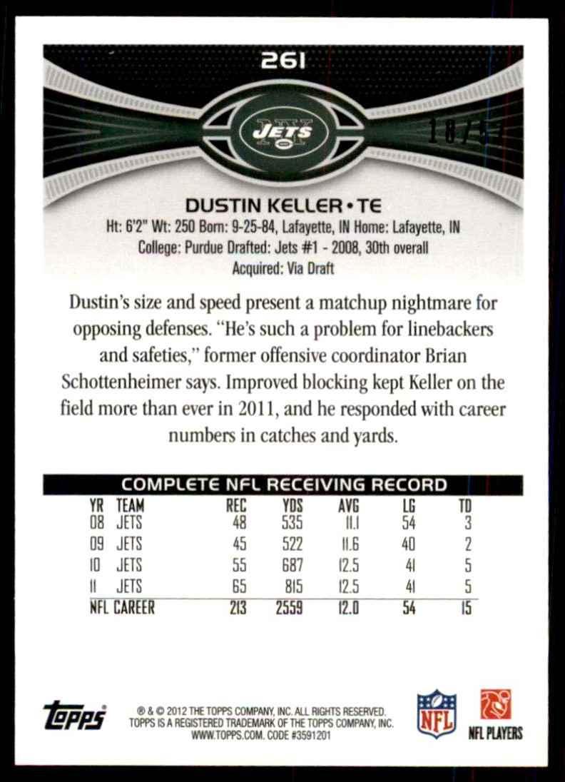 2012 Topps Black Dustin Keller #261 card back image