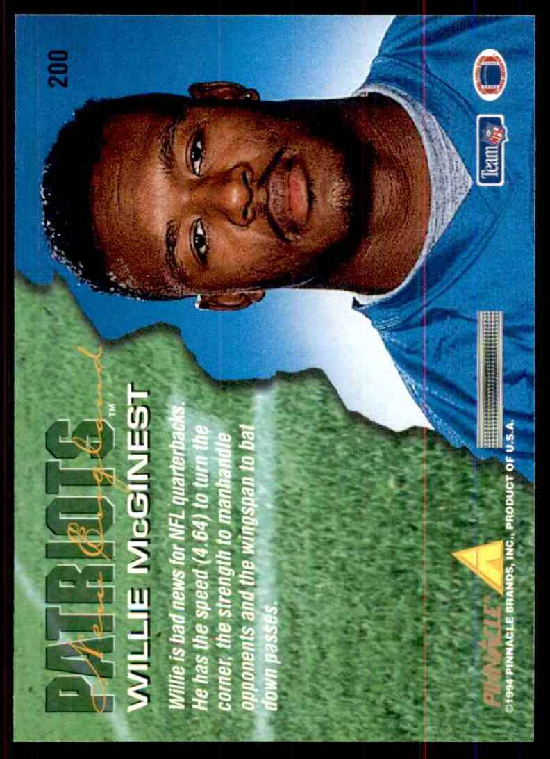 1994 Pinnacle Willie McGinest RC #200 card back image