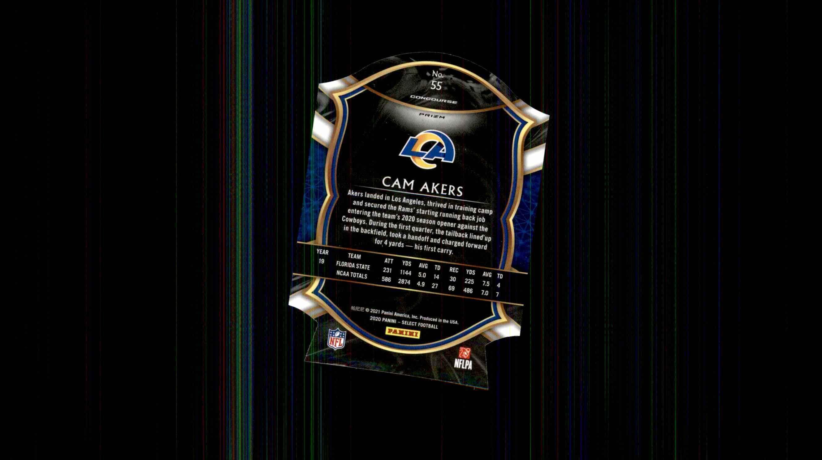 2020 Select Prizm Blue Die Cut Cam Akers #55 card back image