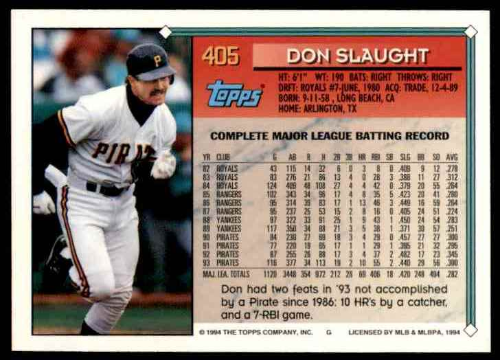 1994 Topps Don Slaught #405 card back image