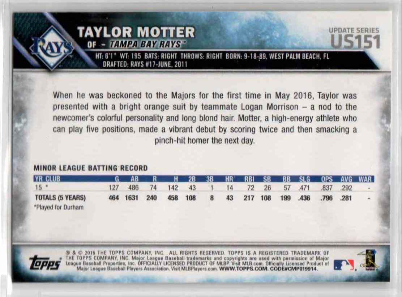 2016 Topps Update Taylor Motter #US151 card back image