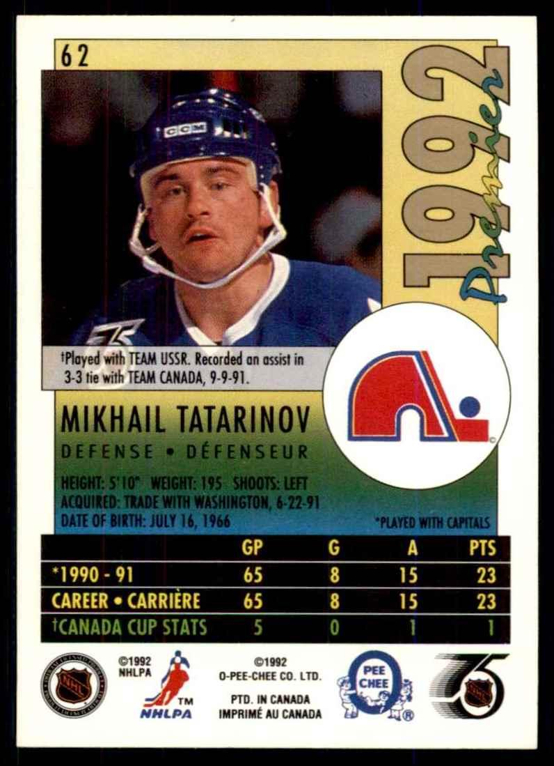 1991-92 OPC Premier Mikhail Tatarinov #62 card back image