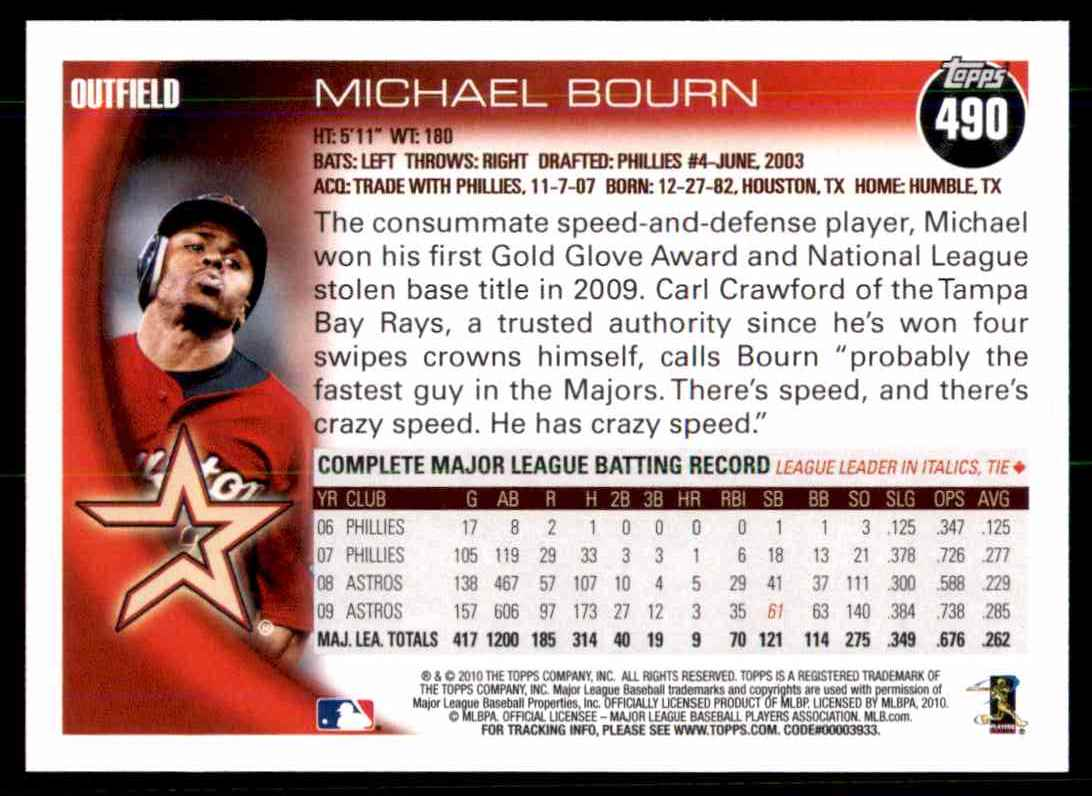 2010 Topps Michael Bourn #490 card back image