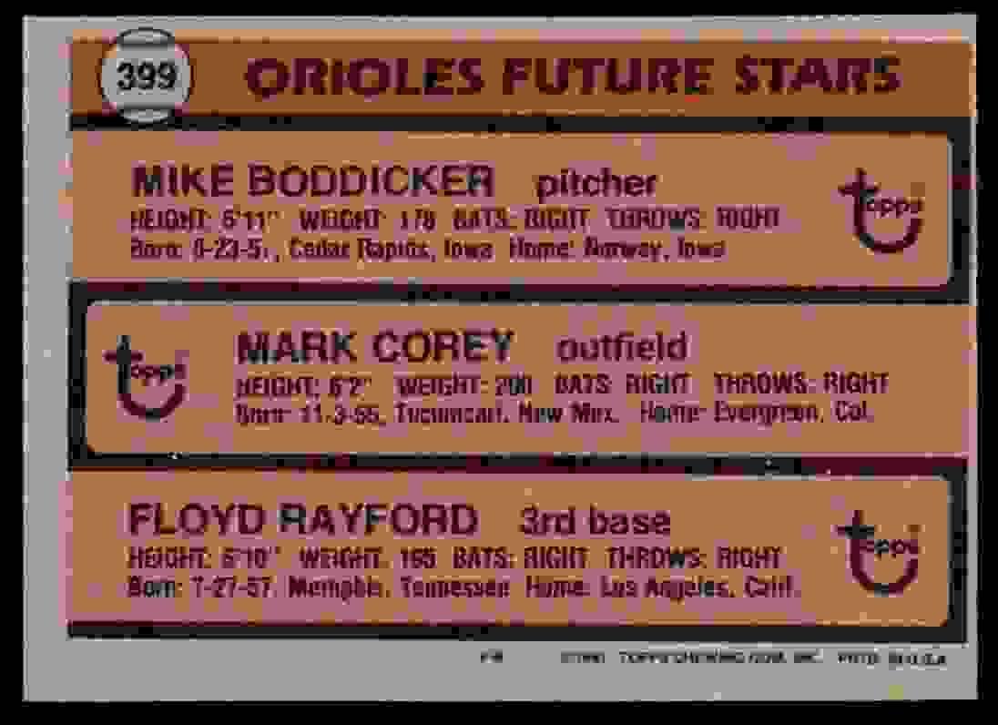 1981 Topps Mark Corey #399 card back image