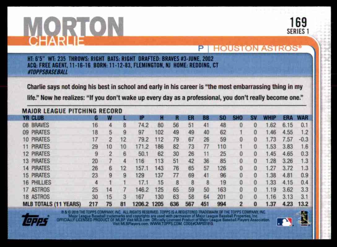 2019 Topps Charlie Morton #169 card back image