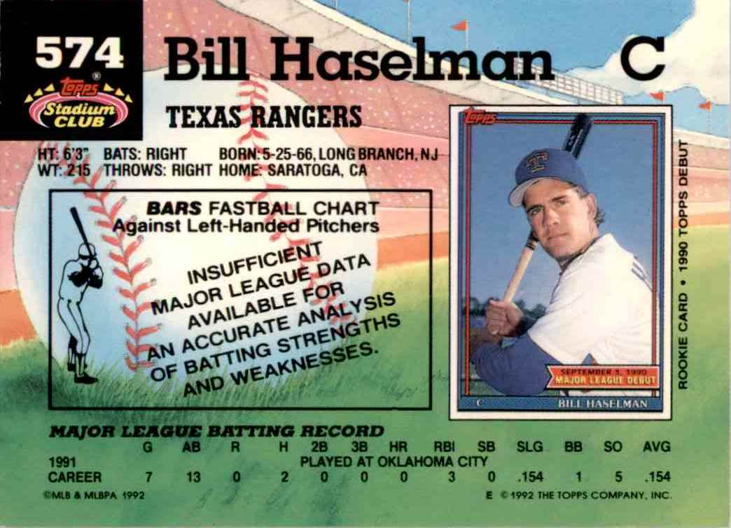 1992 Stadium Club Bill Haselman #574 card back image