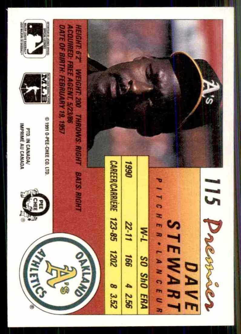 1991 O-Pee-Chee Premier Dave Stewart #115 card back image