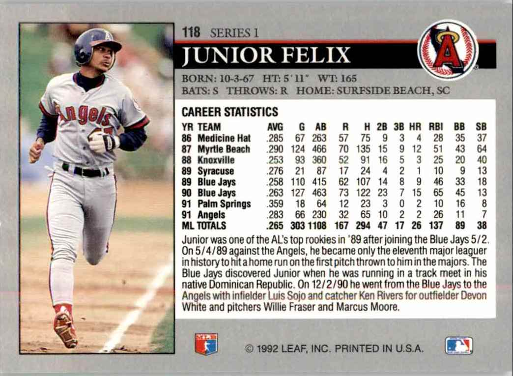 1992 Leaf Series 1 You Tube 15 Junior Felix 118 On Kronozio