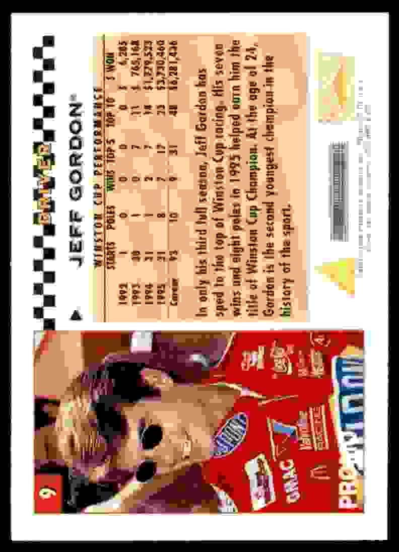 1996 Racer's Choice Promo Jeff Gordon #P9 card back image