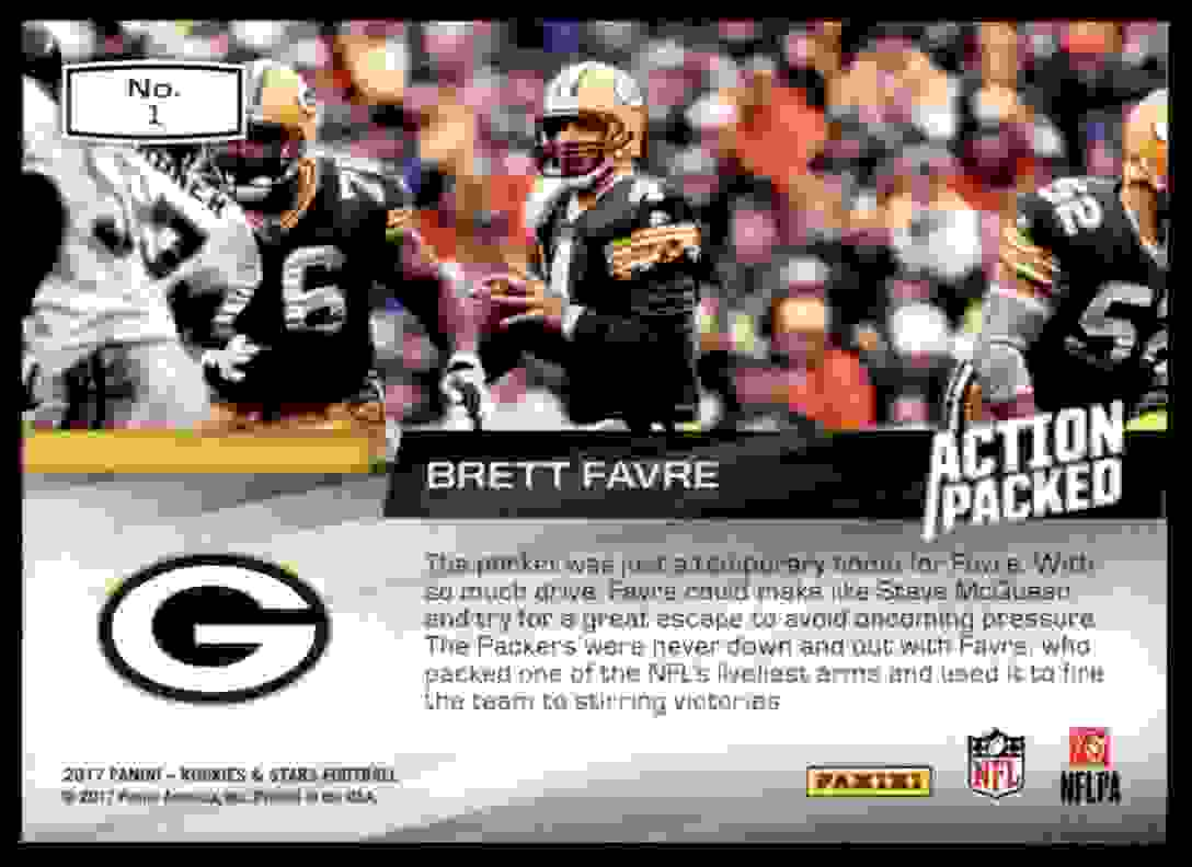 2017 Rookies And Stars Action Packed Brett Favre #1 card back image
