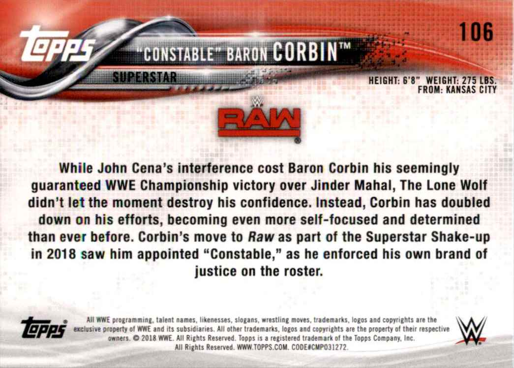 2018 Topps Wwe Then Now Forever Baron Corbin #106 card back image