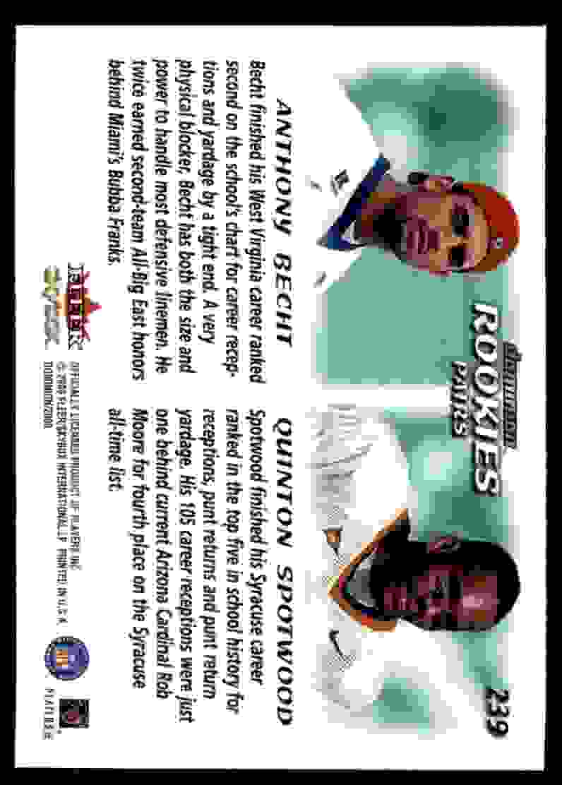 2000 Dominion Anthony Becht Quinton Spotwood #239 card back image