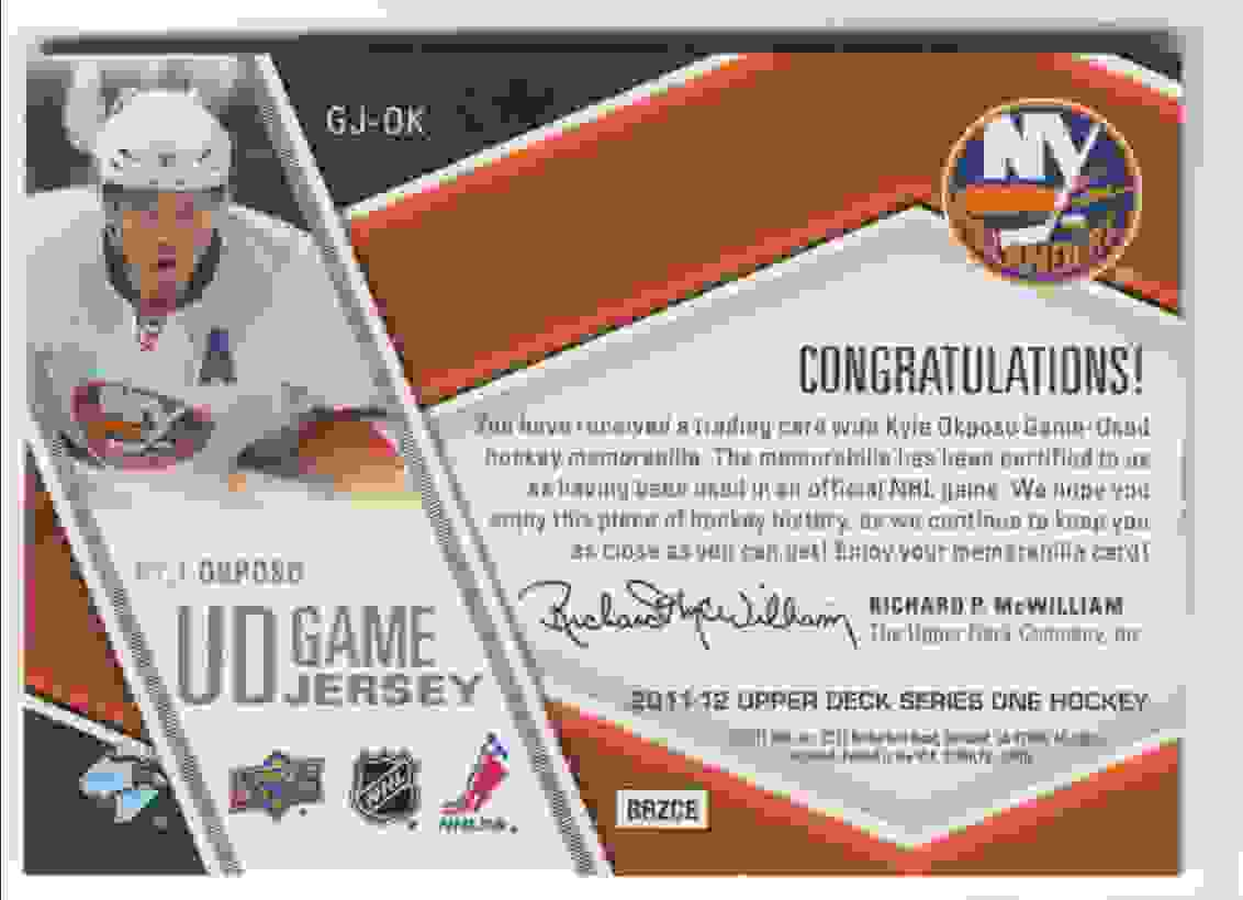 2011-12 Upper Deck Game Jersey Kyle Okposo #GJ-OK card back image