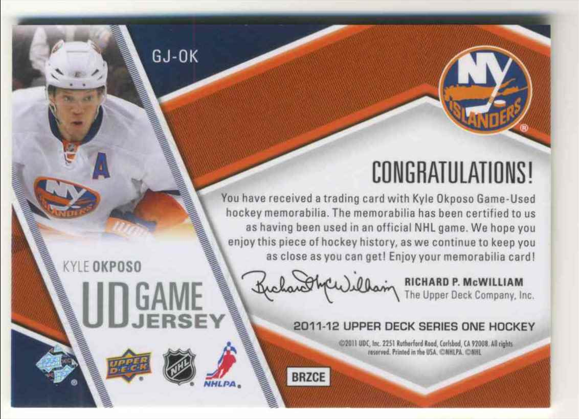 2011-12 Upper Deck Game Jersey Kyle Okposo #GJ-OK card back image