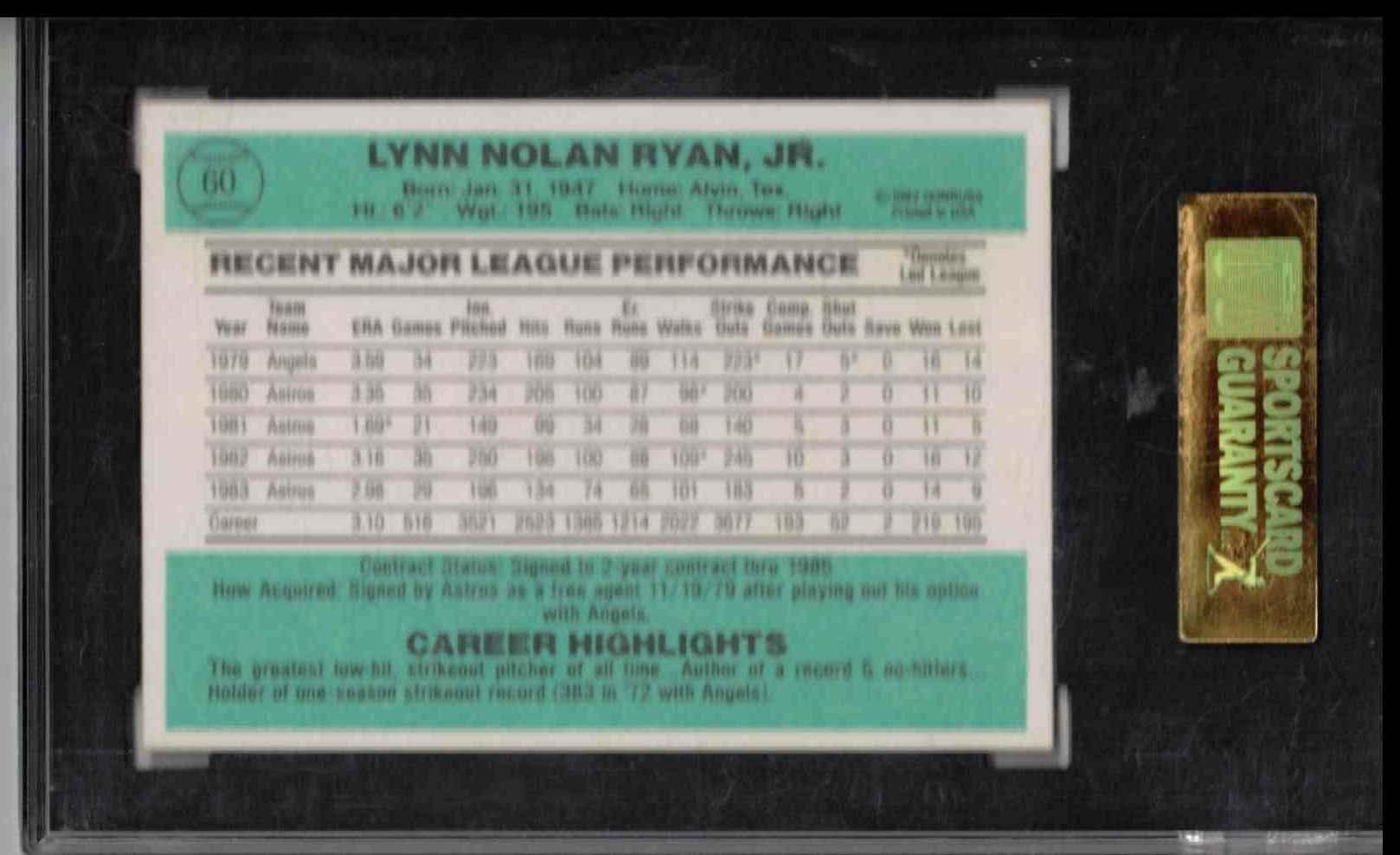 1984 Donruss Nolan Ryan ##60 card back image
