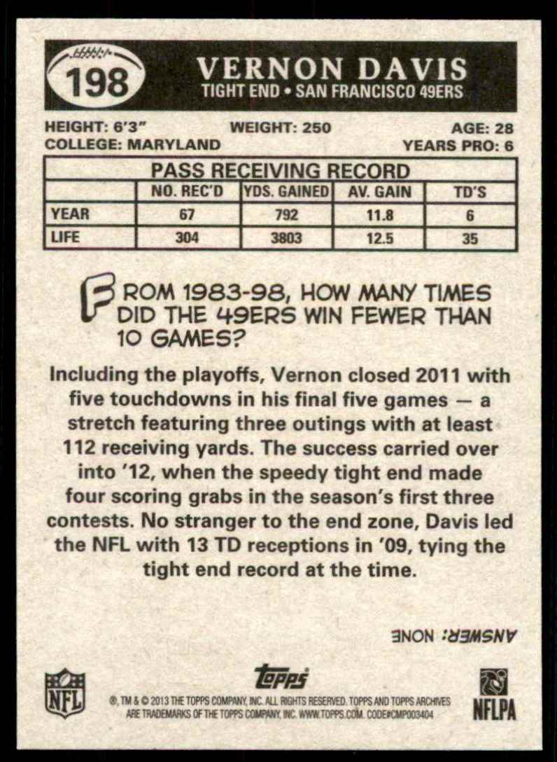 2013 Topps Archives Vernon Davis #198 card back image