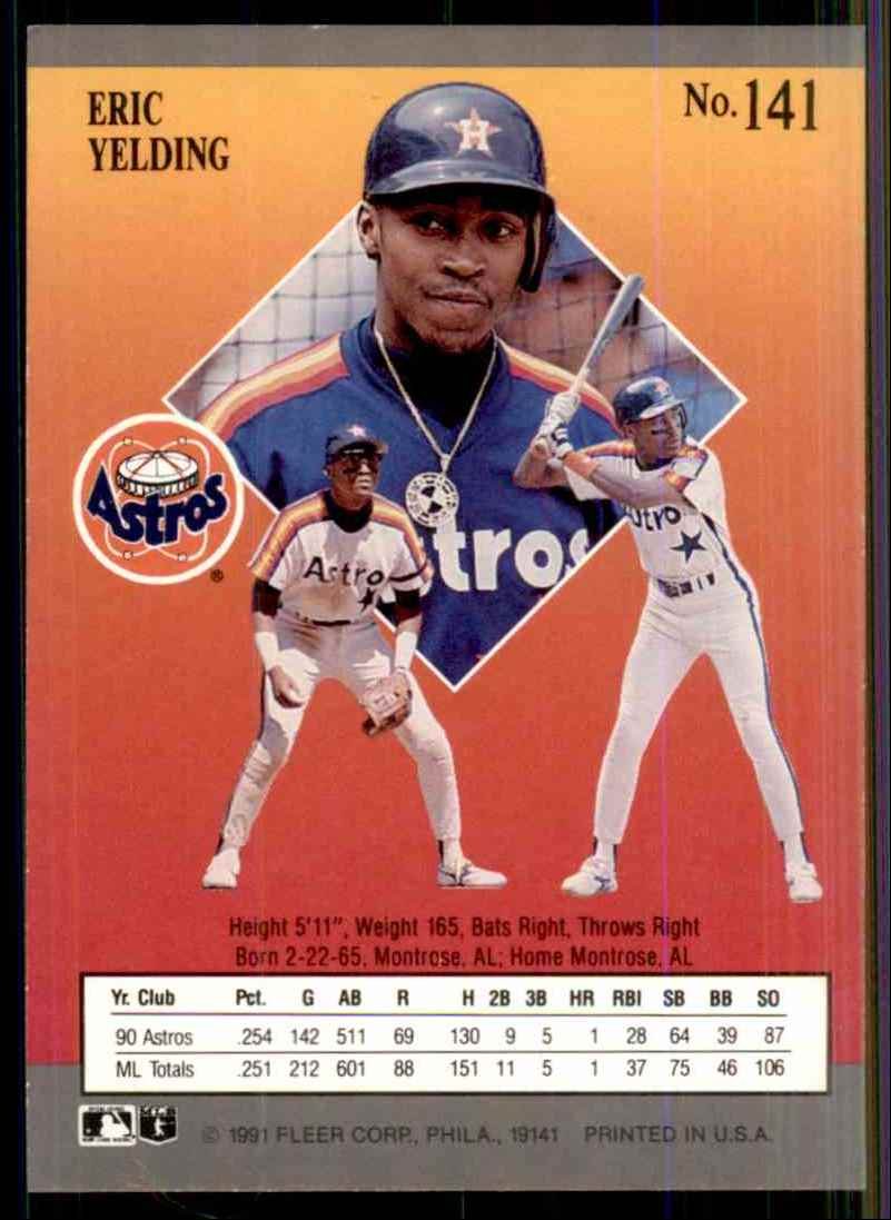 1991 Ultra Eric Yelding #141 card back image