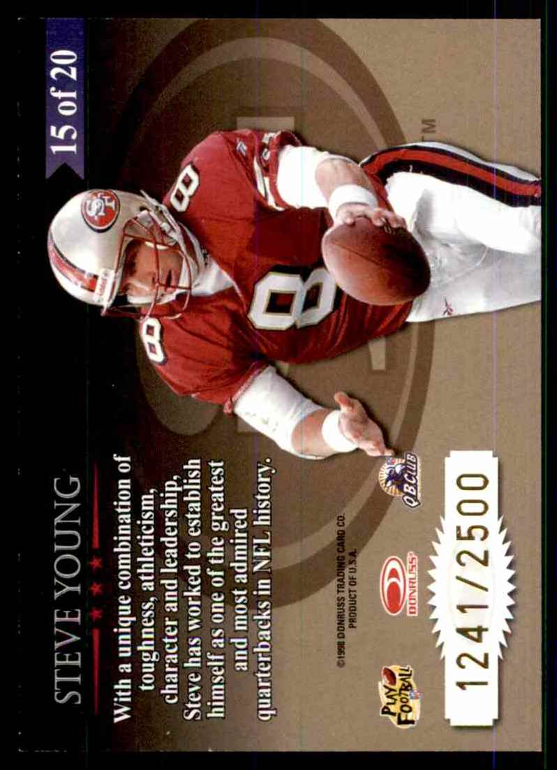1998 Leaf Rookies & Stars Great American Heroes Steve Young #15 card back image