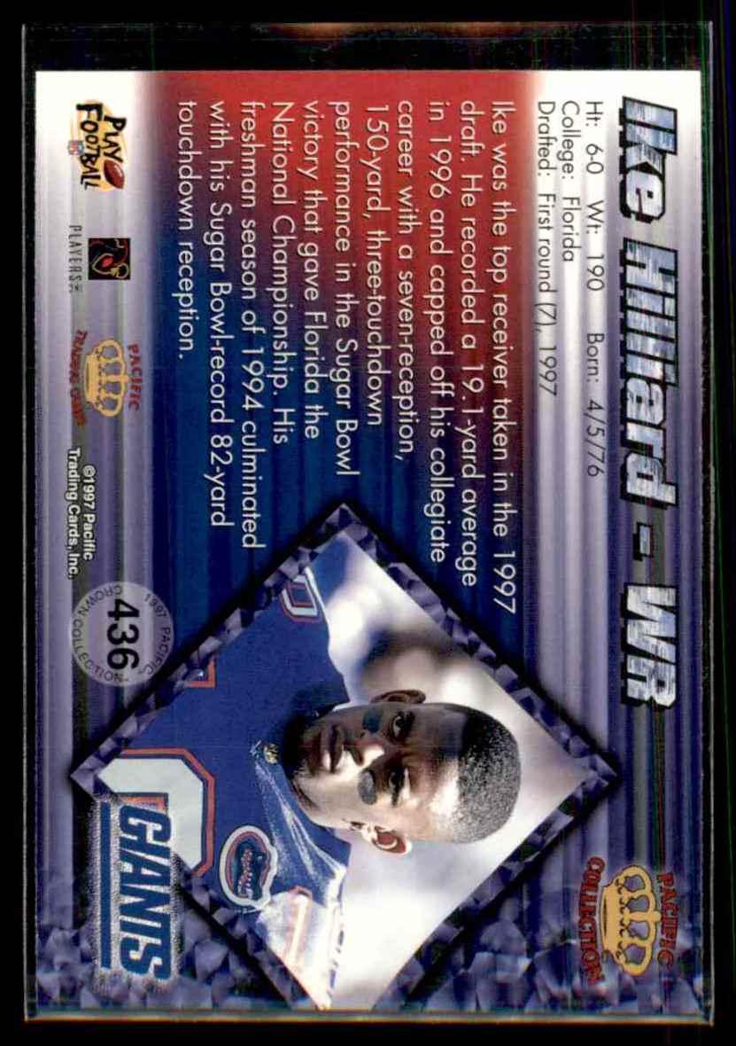 1997 Pacific Ike Hilliard #436 card back image